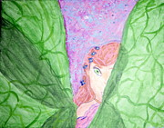 Tinker Bell Art - Peeking Fairy  by Elizabeth Arthur