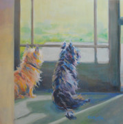 Dogs Art - Peeking by Kimberly Santini