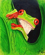 Red-eyed Tree Frog Painting Prints - Peeking out Print by Darlene Richardson