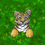 Kiniart Digital Art - Peeking Tiger by Kim Niles