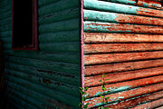 Cabin Window Photos - Peeling Turquoise by Lon Casler Bixby