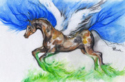 Wings Drawings - Pegasus by Angel  Tarantella