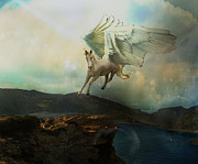 Photo Manipulation Digital Art Framed Prints - Pegasus Flying Horse Framed Print by Patricia Ridlon