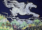 Lake  Tapestries - Textiles Metal Prints - Pegasus Flying Over Stream Metal Print by Carol  Law Conklin