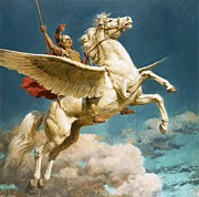 Greek Helmet Posters - Pegasus The Winged Horse Poster by Fortunino Matania