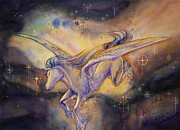Light Horse Art Painting Originals - Pegasus with Nebula by Arwen De Lyon