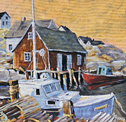Original  By Artist Paintings - Peggy s Cove 01 by Prankearts by Richard T Pranke