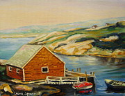 Piers Painting Framed Prints - Peggys Cove  Harbor View Framed Print by Carole Spandau