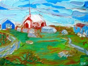 Red School House Paintings - Peggys Cove by Jill PRICE