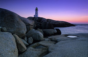 Rock Icon Prints - Peggys Cove Lighthouse Print by Bob Christopher