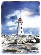 Doily Digital Art - Peggys Cove Lighthouse by Michael Doyle