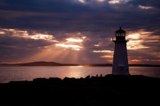 Halifax Photography Halifax Nova Scotia Posters - Peggys Cove Lighthouse Silhouette Poster by Andre Distel