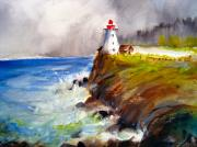 Down East Drawings - Peggys Cove by Myra Evans