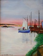 Harbor Drawings Originals - Peggys Cove Nova Scotia by Bill Hubbard
