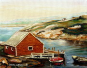 Picturesque Painting Posters - Peggys Cove Nova Scotia Landmark Poster by Carole Spandau