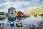 Watercolor  Paintings - Peggys Cove  by Raymond Edmonds