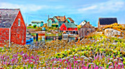 Fishing Village Digital Art - Peggys Cove Wildflower Harbour by Kevin J McGraw