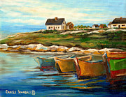 Rocky Coasts Framed Prints - Peggys Cove With Fishing Boats Framed Print by Carole Spandau