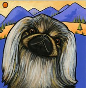 Little Dogs Prints - Pekinese Print by Leanne Wilkes