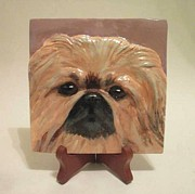 Handpainted Sculptures - Pekingese  by Suzanne Schaefer