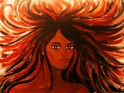Pele Paintings - Pele fire goddess by Charles  Jennison