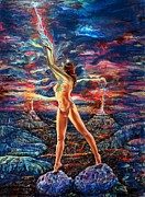 Pele Paintings - Pele Goddess of fire by Eric Sosnowski