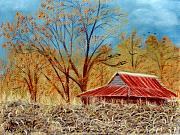 Rural Landscapes Pastels Prints - Pelham Barn Print by Jan Amiss