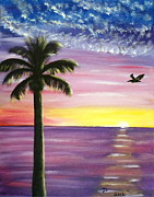 Surfer Girl Paintings - Pelican and Palm Tree Sunset by Diane Wigstone