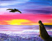Surfer Girl Paintings - Pelican and the Princess by Diane Wigstone