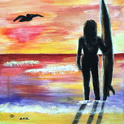 Pelican Painting Originals - Pelican and the Surfer Girl by Diane Wigstone