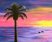 Surfer Girl Paintings - Pelican Pair Purple Sunset by Diane Wigstone