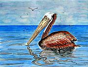 Pelican Painting Originals - Pelican Paradise by Richard Roselli