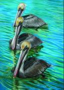 Keys Pastels Framed Prints - Pelican Patrol Framed Print by Deb LaFogg-Docherty