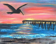 Pelican Painting Originals - Pelican Pier Sunset by Diane Wigstone