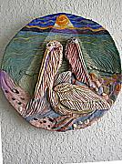 Ceramic Reliefs - Pelicans by Moonlight by Maria Alquilar