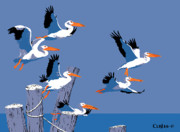 Stylized Paintings - Pelicans seascape tropical pop art nouveau 80s 1980s florida birds large painting blue purple orange by Walt Curlee