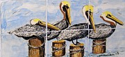 Sea Ceramics Prints - Pelicans Print by Victoria Kader
