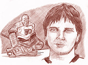 Flyers Hockey Drawings - Pelle Lindbergh by Chris  DelVecchio