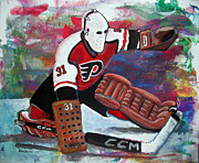 Hockey Painting Metal Prints - Pelle Lindbergh Metal Print by Steve Benton