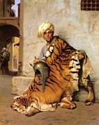 Turban Framed Prints - Pelt Merchant of Cairo - 1869 Framed Print by Jean-Leon Gerome
