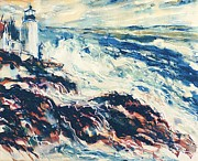 Maine Seacoast Paintings - Pemaquid Light by Edi Holley