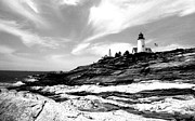 Pemaquid Lighthouse Posters - Pemaquid Lighthouse Black and White  Poster by Kara Ray