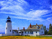 Pemaquid Lighthouse Painting Framed Prints - Pemaquid Point Lighthouse Framed Print by Dominic Piperata