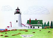 Maine Lighthouses Drawings Posters - Pemaquid Point Lighthouse Poster by Frederic Kohli