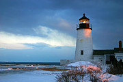 Pemaquid Lighthouse Posters - Pemaquid Point Lighthouse in the snow Poster by Jeremy Dentremont