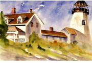 Pemaquid Lighthouse Painting Framed Prints - Pemaquid Point Lighthouse Framed Print by Linda Bourie