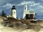 Rocky Coast Paintings - Pemaquid Point Lighthouse  by Nancy Patterson