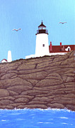 Pemaquid Lighthouse Painting Framed Prints - Pemaquid Point Lighthouse Painting Framed Print by Frederic Kohli