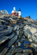Pemaquid Point Lighthouse Reflection - Seascape Landscape Rocky Coast Maine Print by Jon Holiday