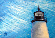 Pemaquid Lighthouse Drawings Metal Prints - Pemaquid Point Lighthouse Metal Print by Tina McCurdy